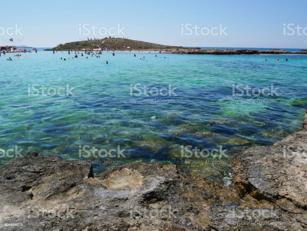 A view of a azzure water and Nissi beach. stock photo