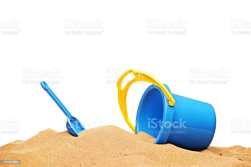 View of a basket and scoop at the beach stock photo