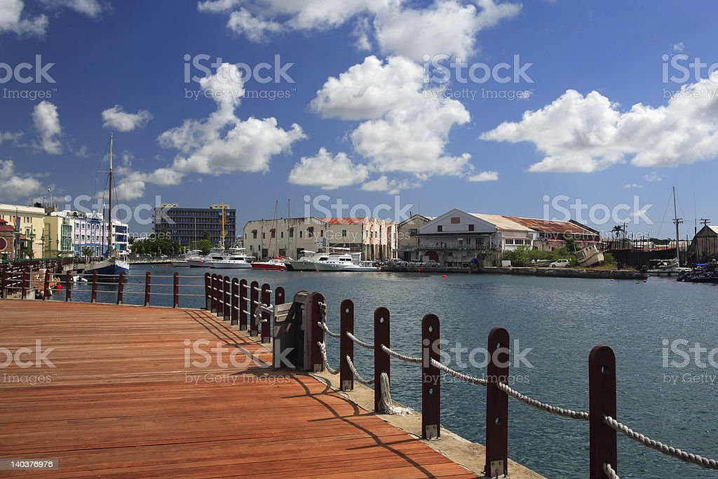 View of a bay and Barbados on a sunny day stock photo