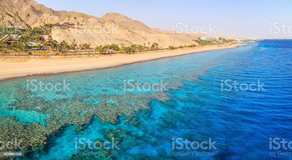 View of a beach in Eilat stock photo