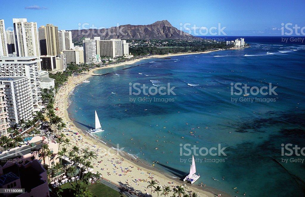 View of a beach in Oahu, Hawaii, Waikiki and Diamond Head stock photo