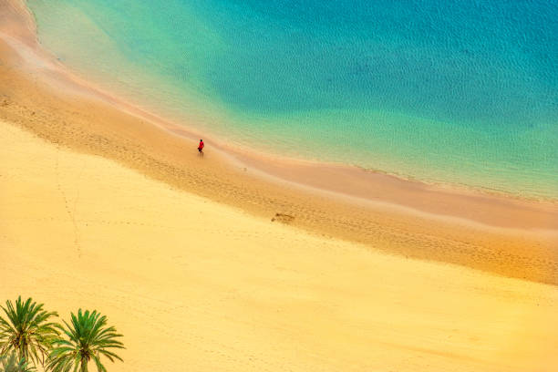 View of a beautiful Beach Aerial View,Tenerife,Spain stock photo