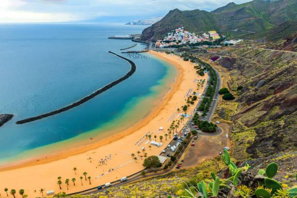View of a beautiful Beach in Canary Island, Las Teresitas,Tenerife,Spain stock photo