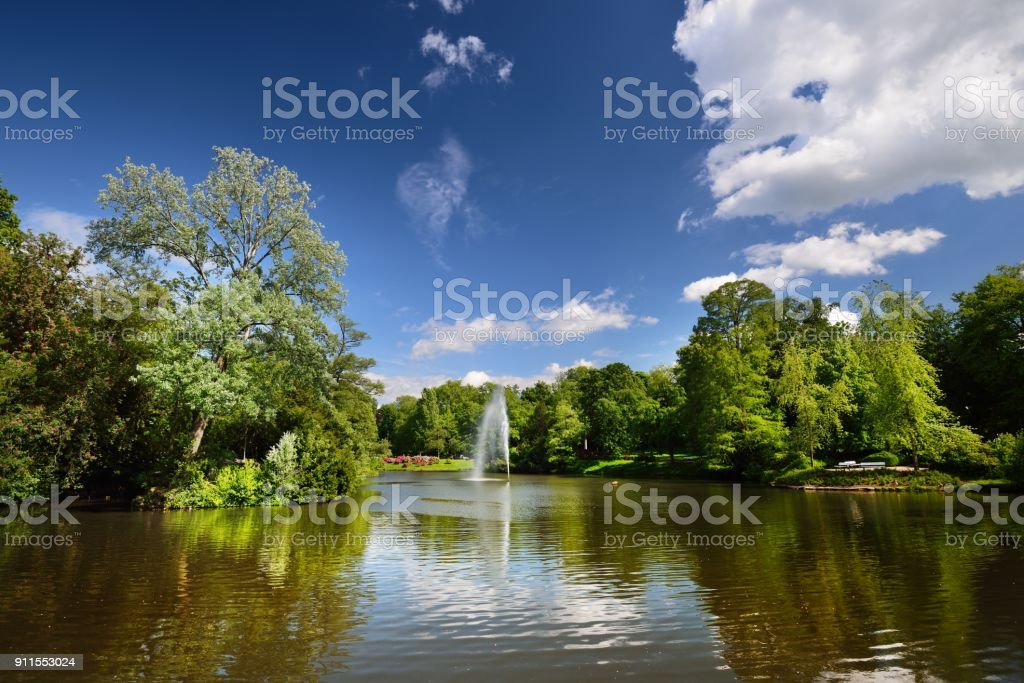 View of a beautiful lake with fountaing in a green blooming park stock photo