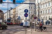 VIENNA, AUSTRIA - APRIL, 2018: View of a beautiful Vienna street on Schwarzenbergplatz
