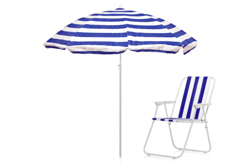 Magnificent View Of A Blue White Striped Umbrella And Beach Chair Stock Caraccident5 Cool Chair Designs And Ideas Caraccident5Info