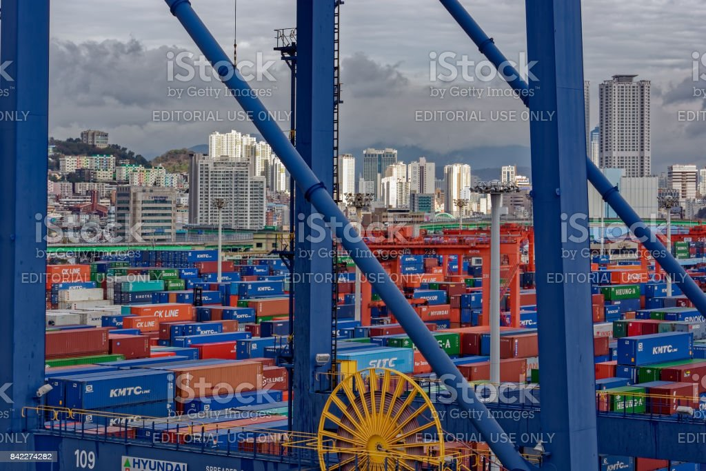 A view of a Busan Container Terminal. stock photo