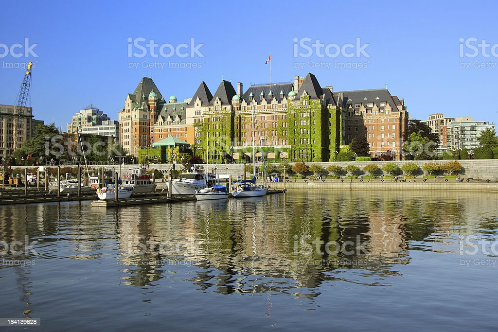 A view of a castle in Victoria, British Columbia stock photo
