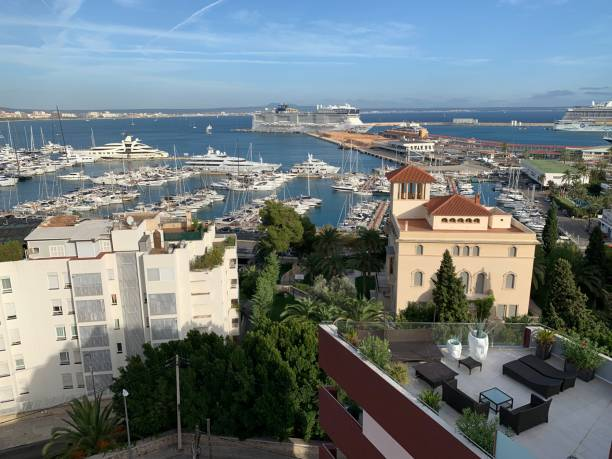 View of a city and its harbour stock photo