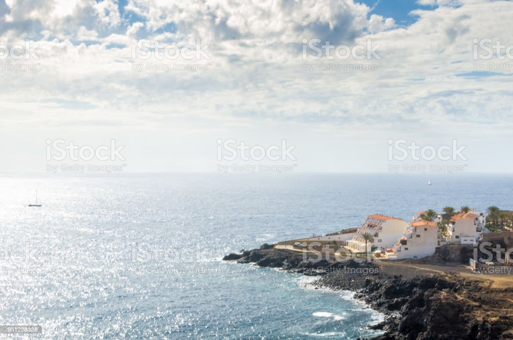 View of a coastal resort by the Atlantic Ocean stock photo