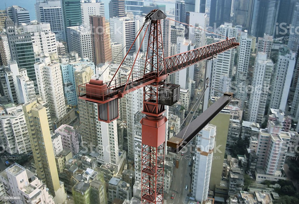 View of a construction crane and cityscape stock photo