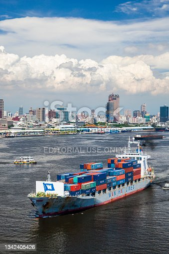 istock View of a container ship on the sea. 1342405426
