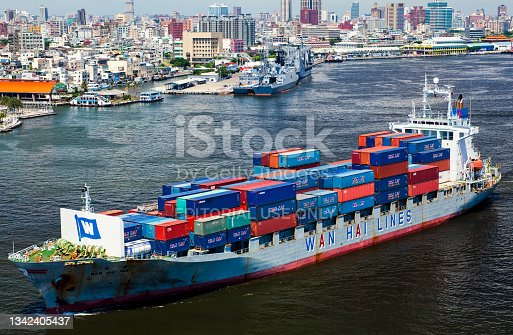 istock View of a container ship on the sea. 1342405437