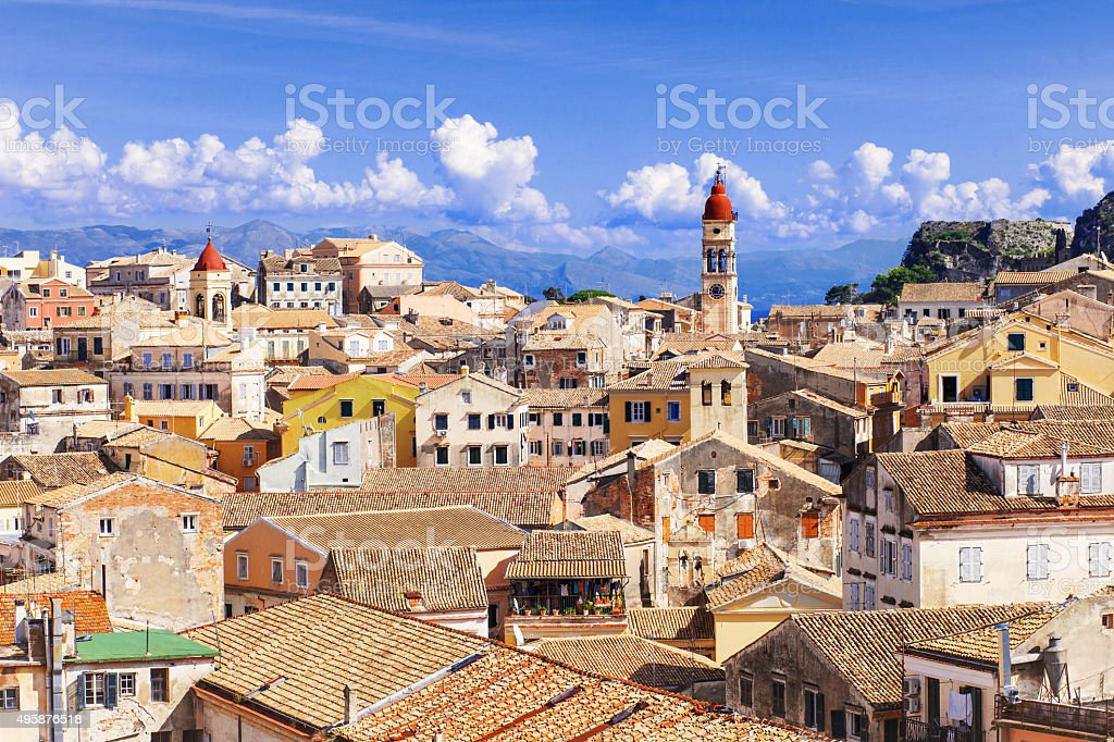 View of a Corfu city stock photo