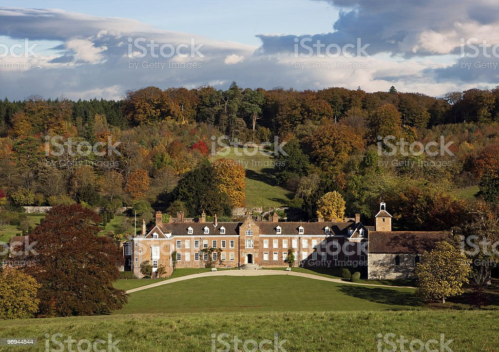 View of a country manor in autumn royalty-free stock photo