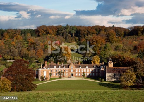 View Of A Country Manor In Autumn Stock Photo & More Pictures of Architecture
