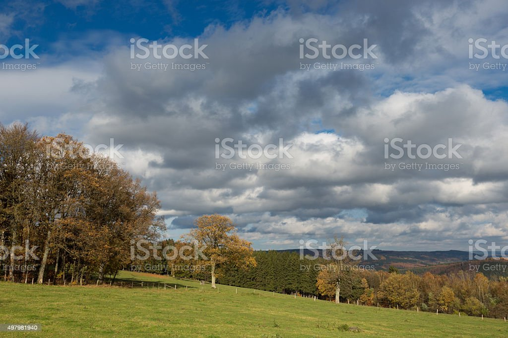 View of a countryside in the Belgium Ardennes. stock photo