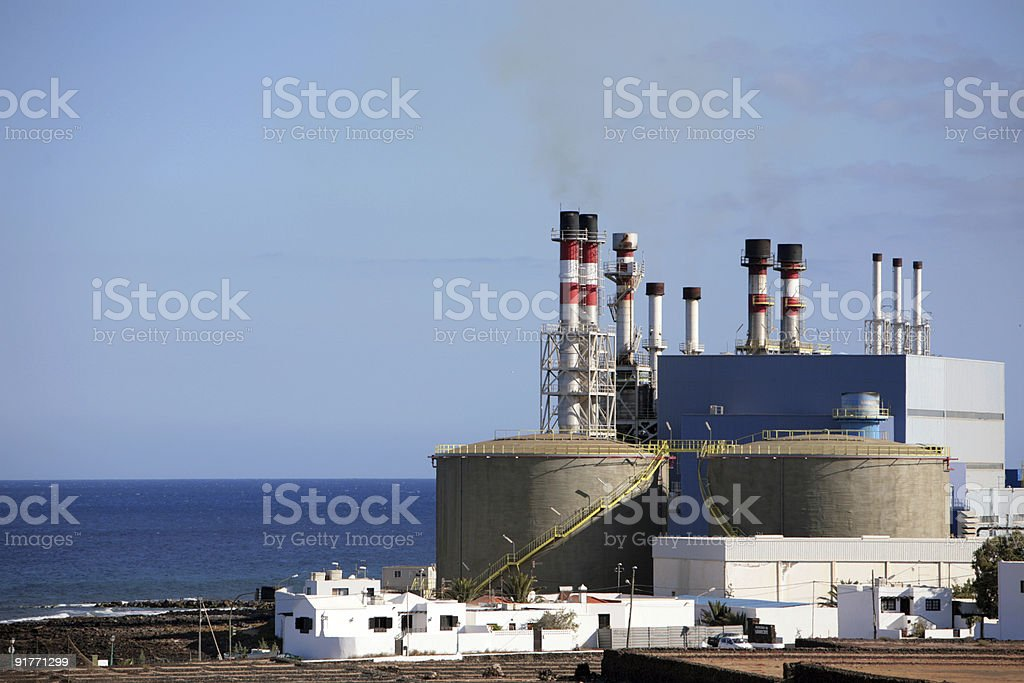 A view of a desalination plant near water stock photo