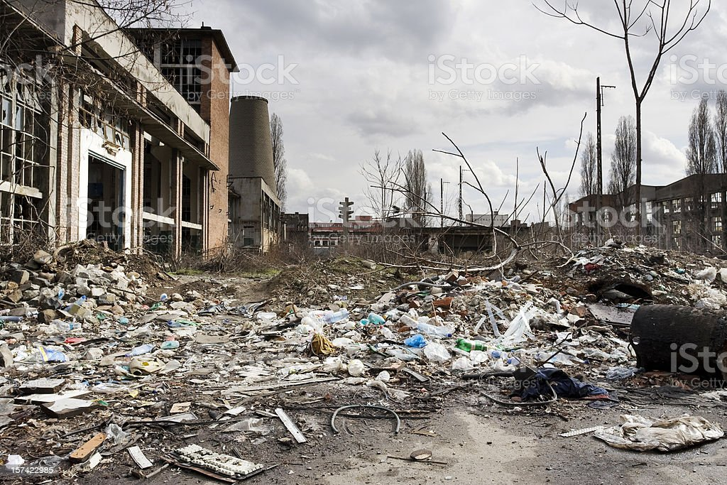 A view of a destroyed factory courtyard stock photo