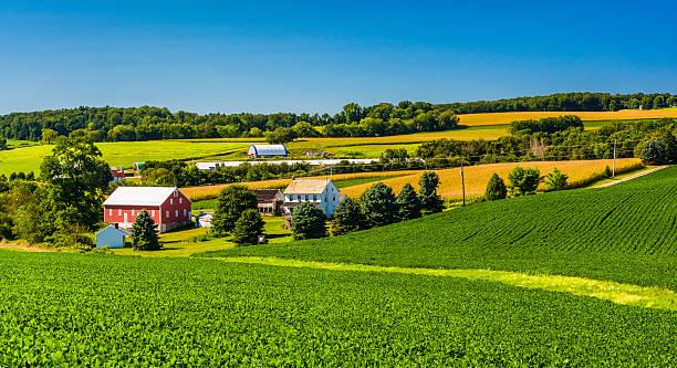 View of a farm in rural York County, Pennsylvania. stock photo