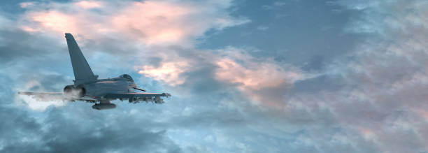 View of a fighter jet above the clouds with copy space. 3D render View of a fighter jet above the clouds with copy space. 3D render. supersonic airplane stock pictures, royalty-free photos & images