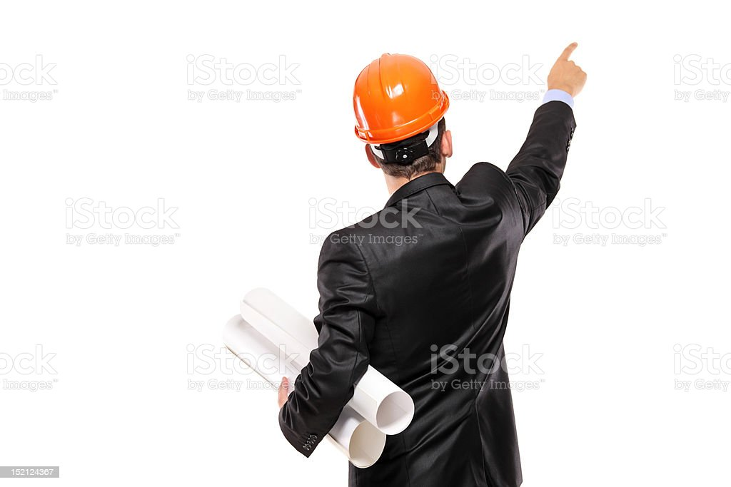 View of a foreman in suit pointing royalty-free stock photo