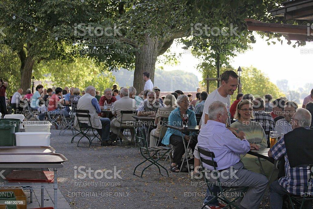 View of a german beer garden stock photo