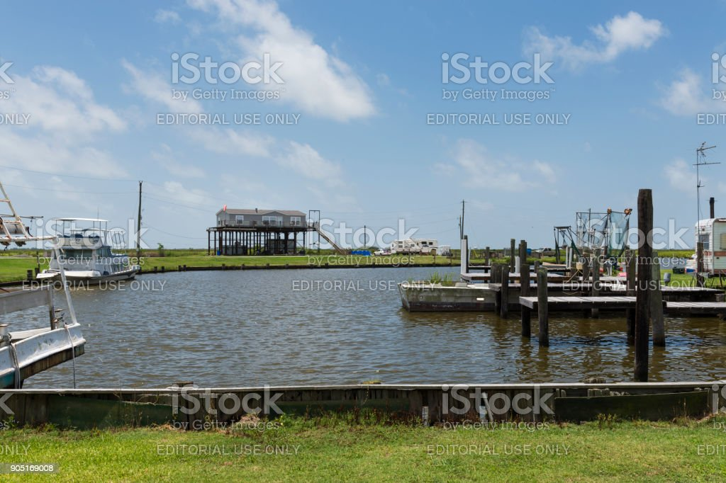 View of a harbor in the banks of Lake Charles in the State of Louisiana stock photo