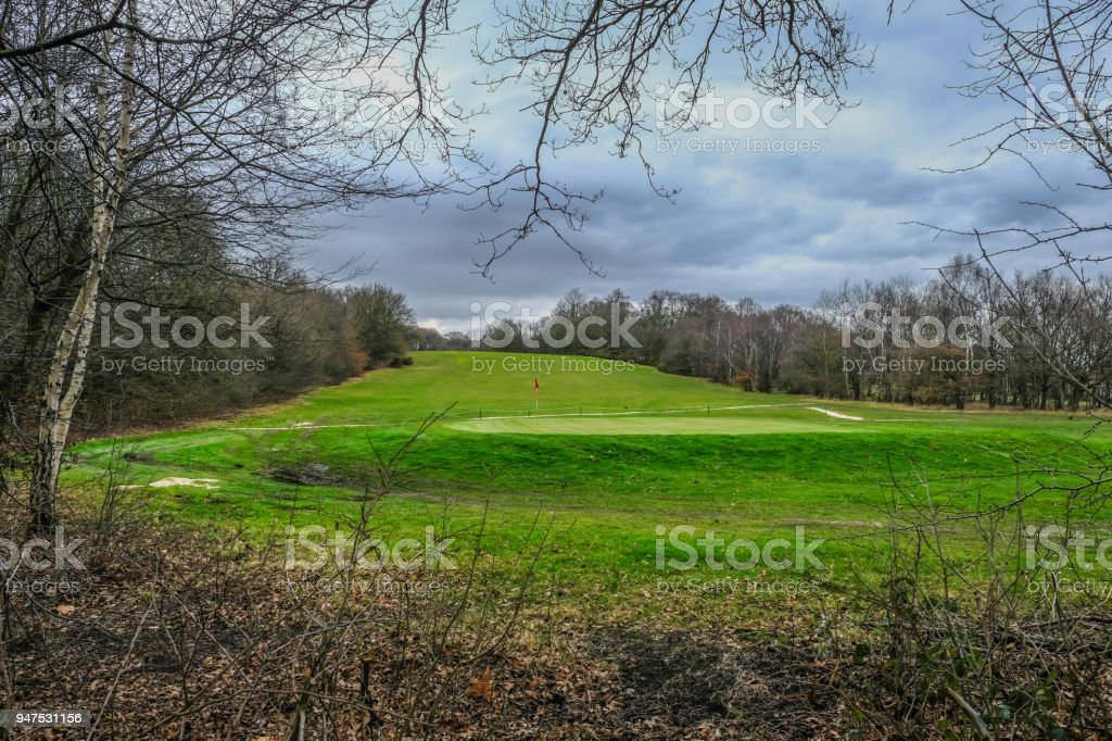 View of a hole on a golf course stock photo