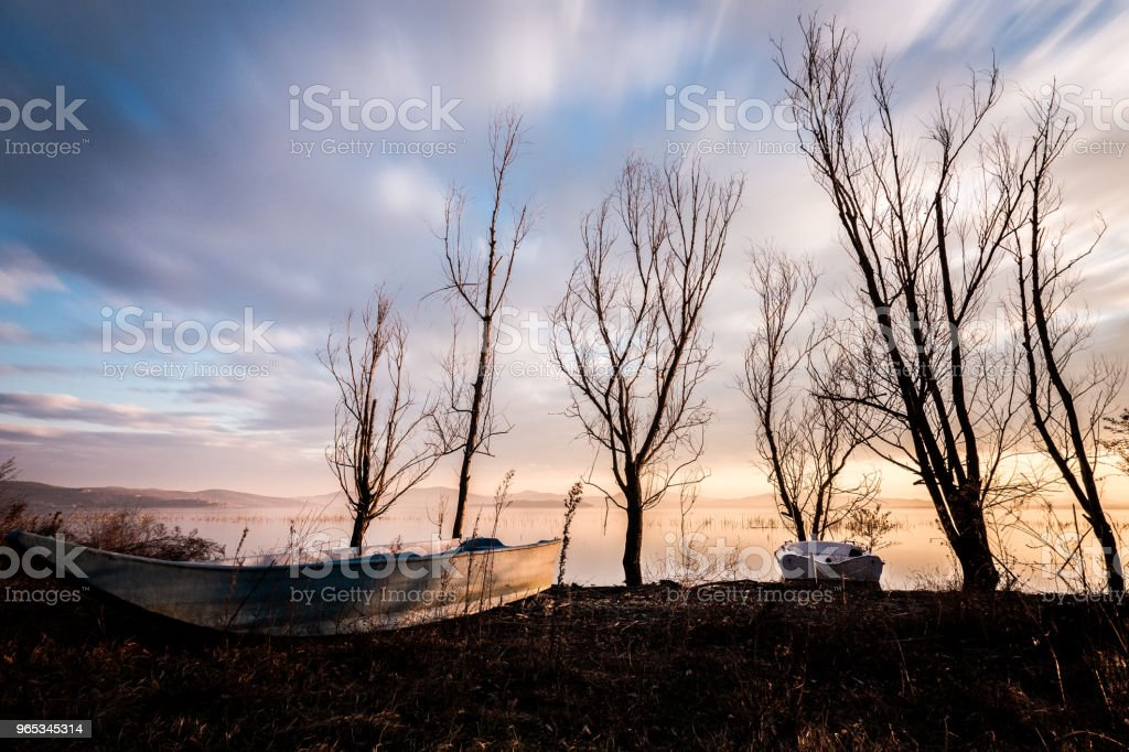 View of a lake shore with some little fishing boats, trees and warm and soft sunset colors zbiór zdjęć royalty-free