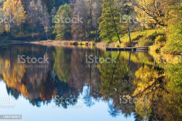 Photo of View of a lake with a jetty by the beach at autumn