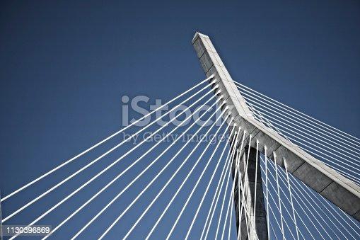 View of a landmark suspension bridge in Boston Massachusetts