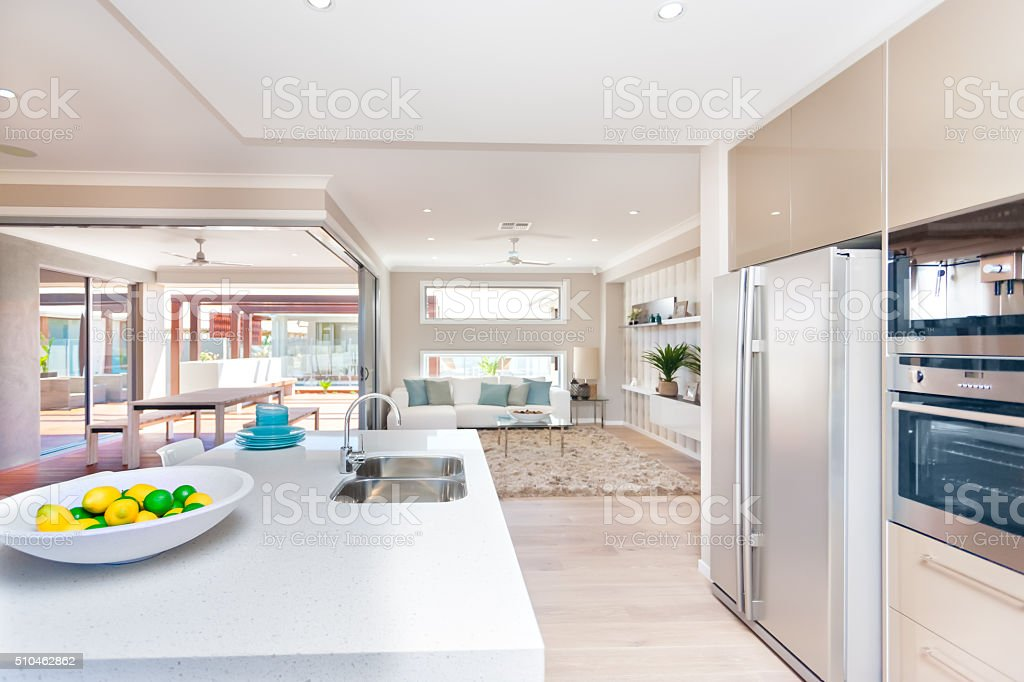 View of a living room and a exterior patio stock photo