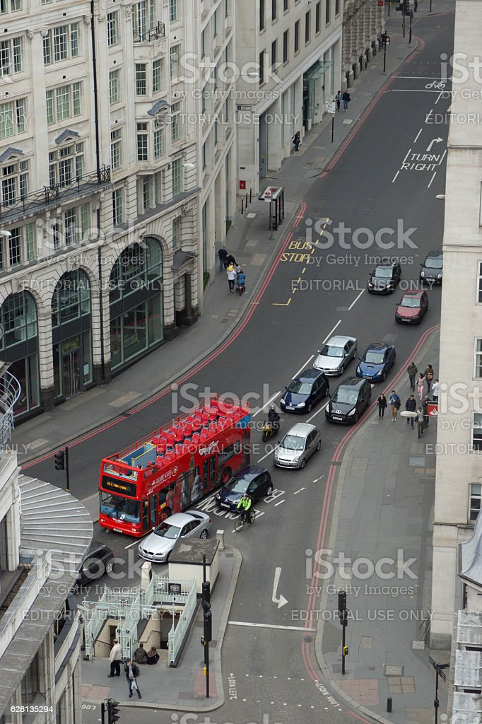 View of a London Street near The Monument stock photo