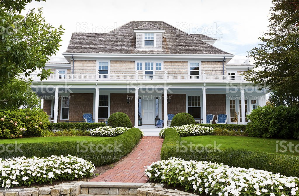A view of a luxurious house in New England royalty-free stock photo