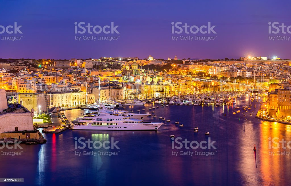 View of a marina near Valletta - Malta stock photo