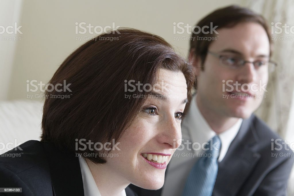 View of a mid adult woman and man smiling. royalty-free stock photo