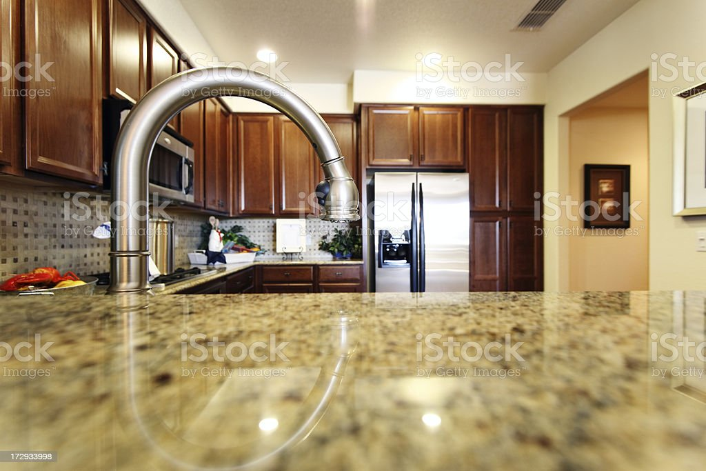 view of a modern kitchen from behind the sink royalty-free stock photo