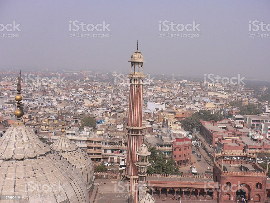 View of a Mosque (Jama Masjid) and Delhi royalty-free stock photo