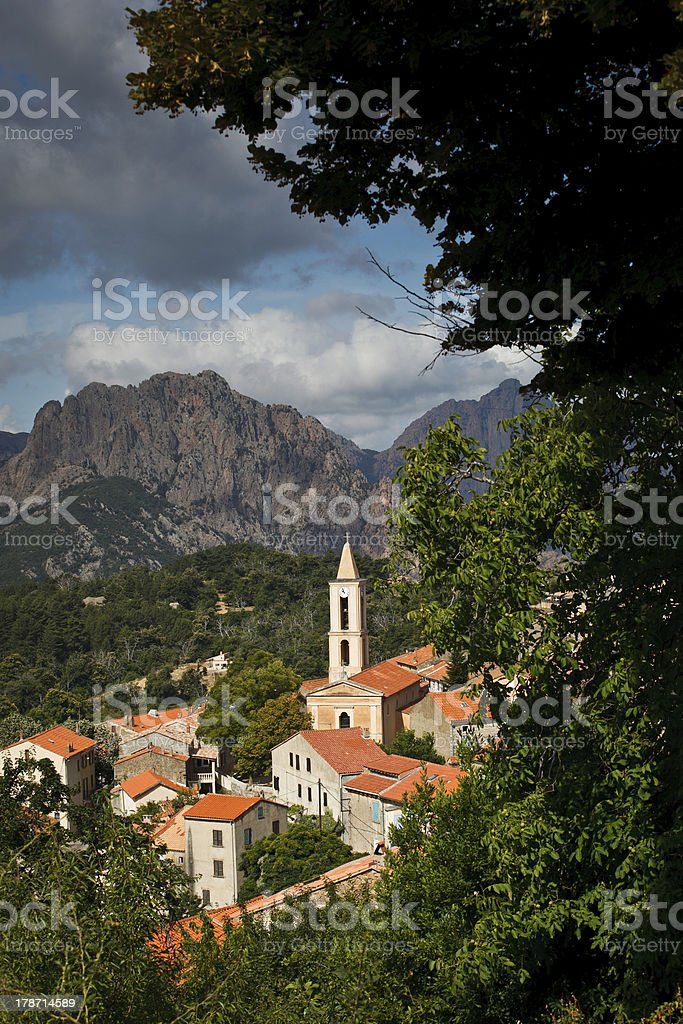 View of a mountain village in Corsica. stock photo