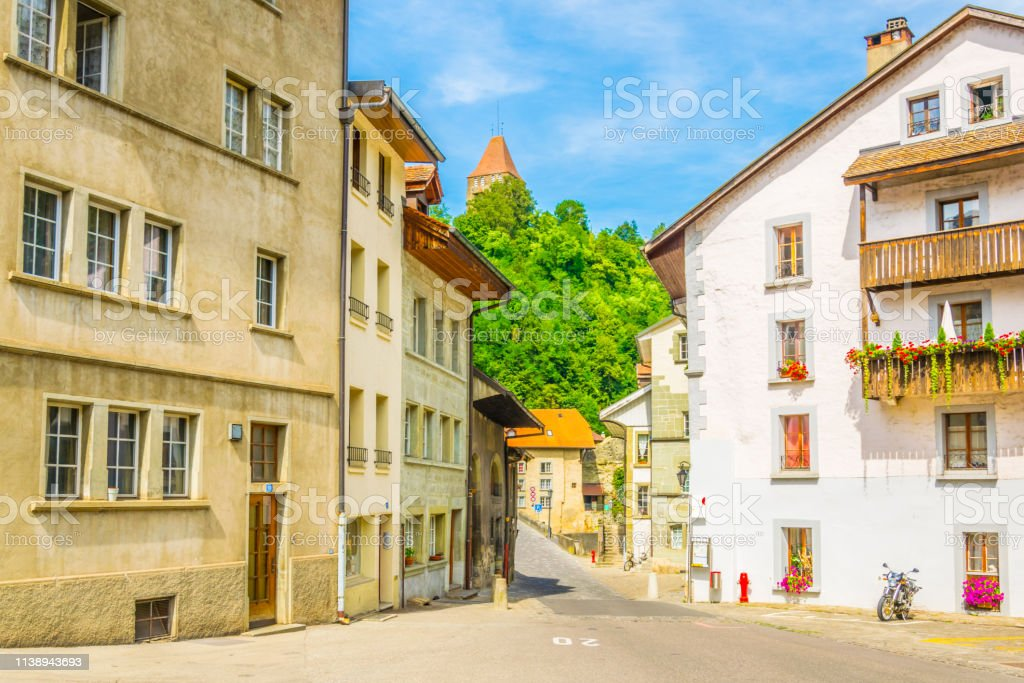 View Of A Narrow Street In The Old Town Of Fribourg ...