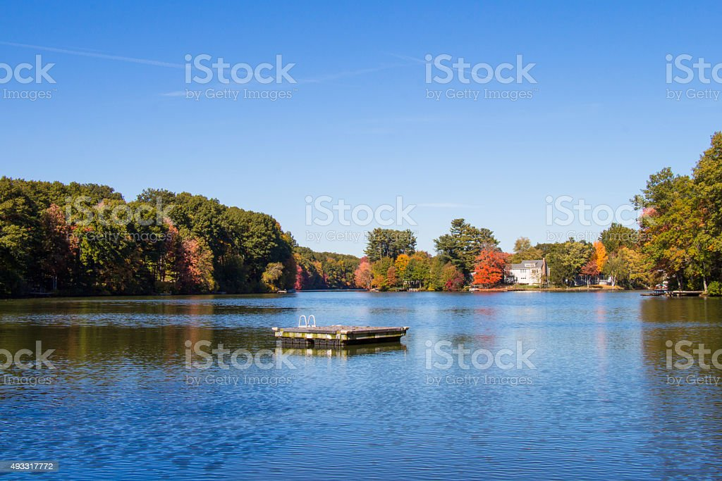 View of a New England lake in Autumn stock photo