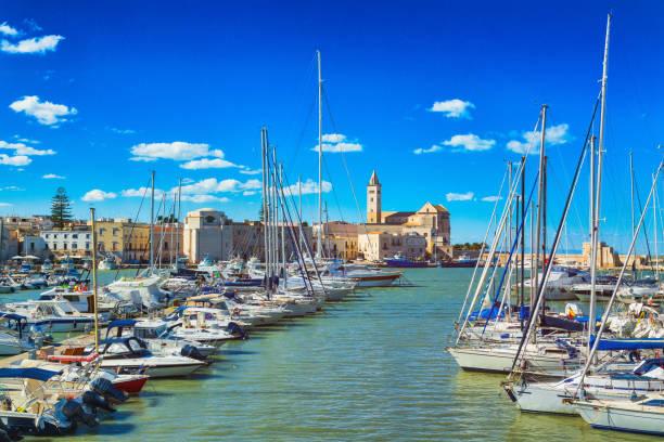 View of a nice fishing harbor and marina in Trani, Puglia region, Italy stock photo