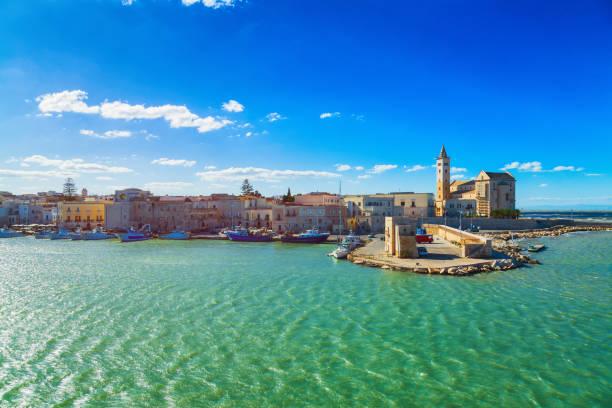 View of a nice fishing harbor and marina in Trani, region Puglia, Italy