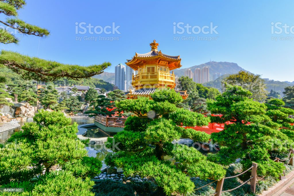 View of a park in Hong Kong stock photo