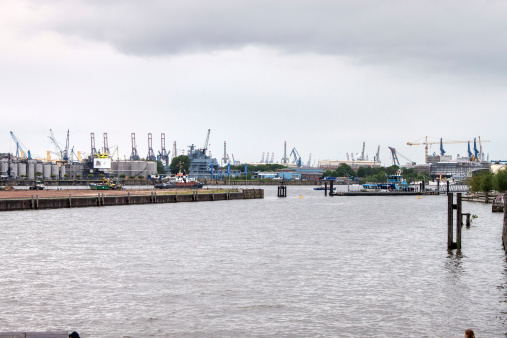 View of a port in Hamburg