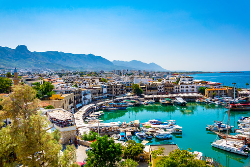 View of a port in Kyrenia/Girne during a sunny summer day, Cyprus