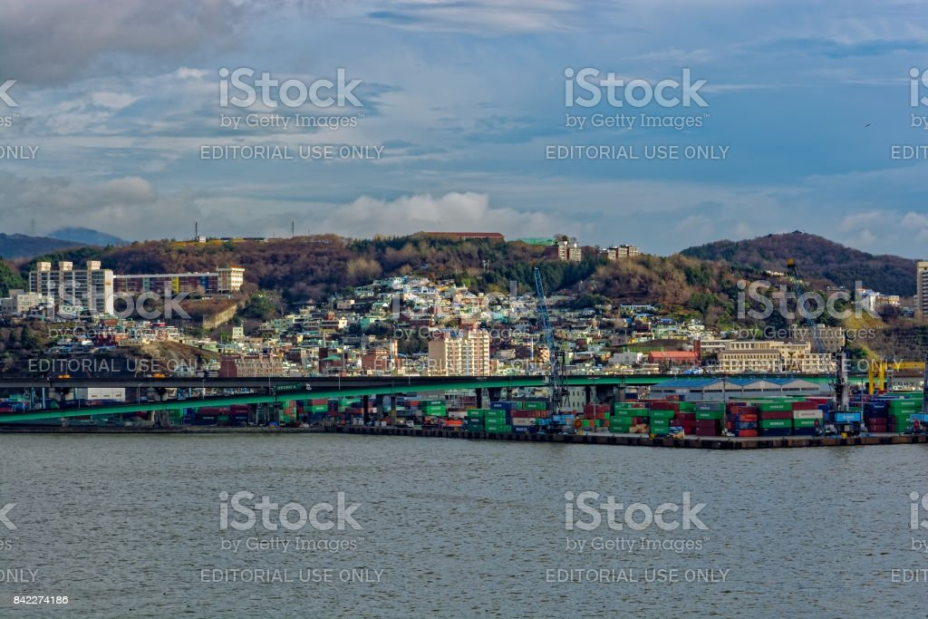 A view of a Port of Busan. stock photo