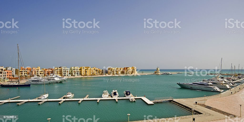 View of a private marina royalty-free stock photo