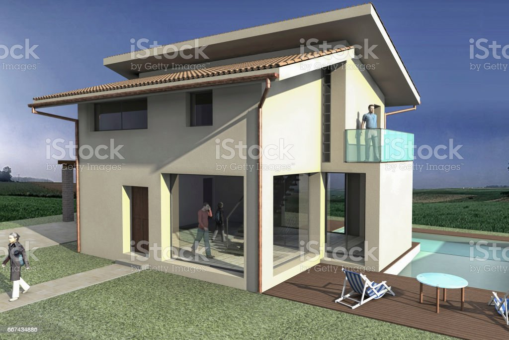 View of a rendering stock photo